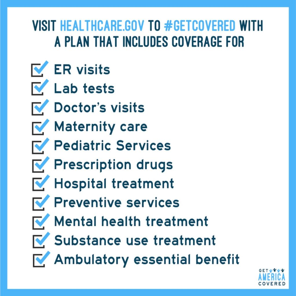Visit healthcare.gov to get covered with a plan that includes ER visits, lab tests, doctors visits, maternity care, pediatric services, prescription drugs, hospital treatment, preventative services, mental health treatment, substance use treatment, ambulatory essential benefit
